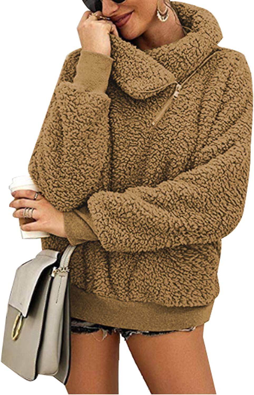 Zanzea Women Fuzzy Fleece Sweatshirt Hoodies Long Sleeve V Neck Button Pullover Tops Oversized Outerwear Coat with Pockets