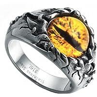 HIJONES Men's Stainless Steel Gothic Biker Dragon Eye Ring Yellow Gem Stone, Vintage