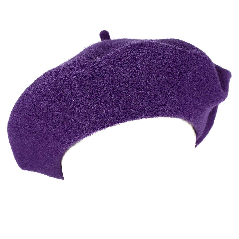 c55633067b12b Men s Ladies Plain French Military Style Beret Hat 100% Wool - Purple  (M-L)  Amazon.co.uk  Clothing