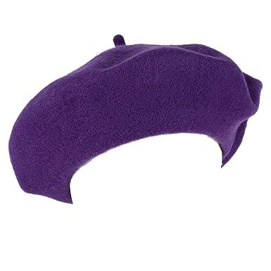 39444da0c0c8d Men s Ladies Plain French Military Style Beret Hat 100% Wool - Purple ...
