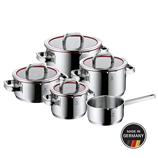 WMF Function 4 - Batería de Cocina, Cromargan Acero Inoxidable, 1 Cacerola de 16 cm, 3 Ollas altas con Tapa, 1 olla de cocción con tapa , 5 Piezas