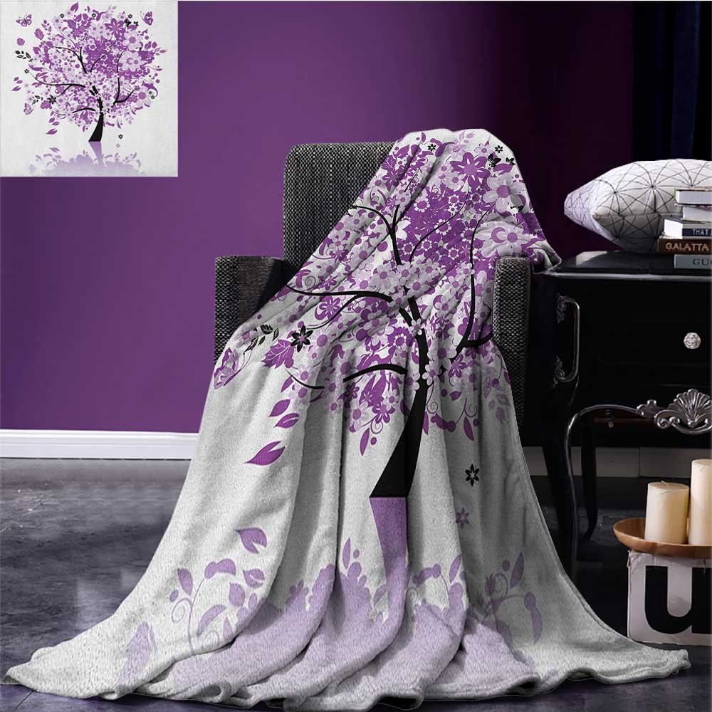 Nature survival blanket Spring Tree of Life Sacred Woods with Blooming Flower and Butterfly Flying Romance space blanket Lilac Purple size:51''x31.5''