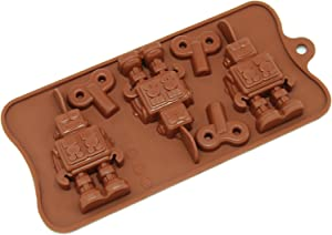 Freshware 6-Cavity Silicone Robot and Key Chocolate, Candy and Gummy Mold