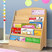 Kids Bookcase, Keezi 5-Tier Wooden Kids Bookshelf Magazines Display Rack Stand - Natural