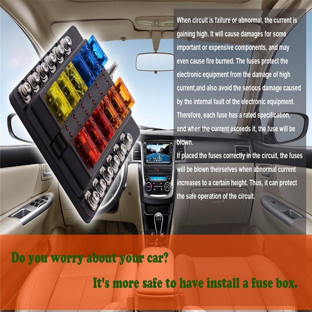 led indicator fuse holder + protection cover blade fuse box holder with led  warning light kit