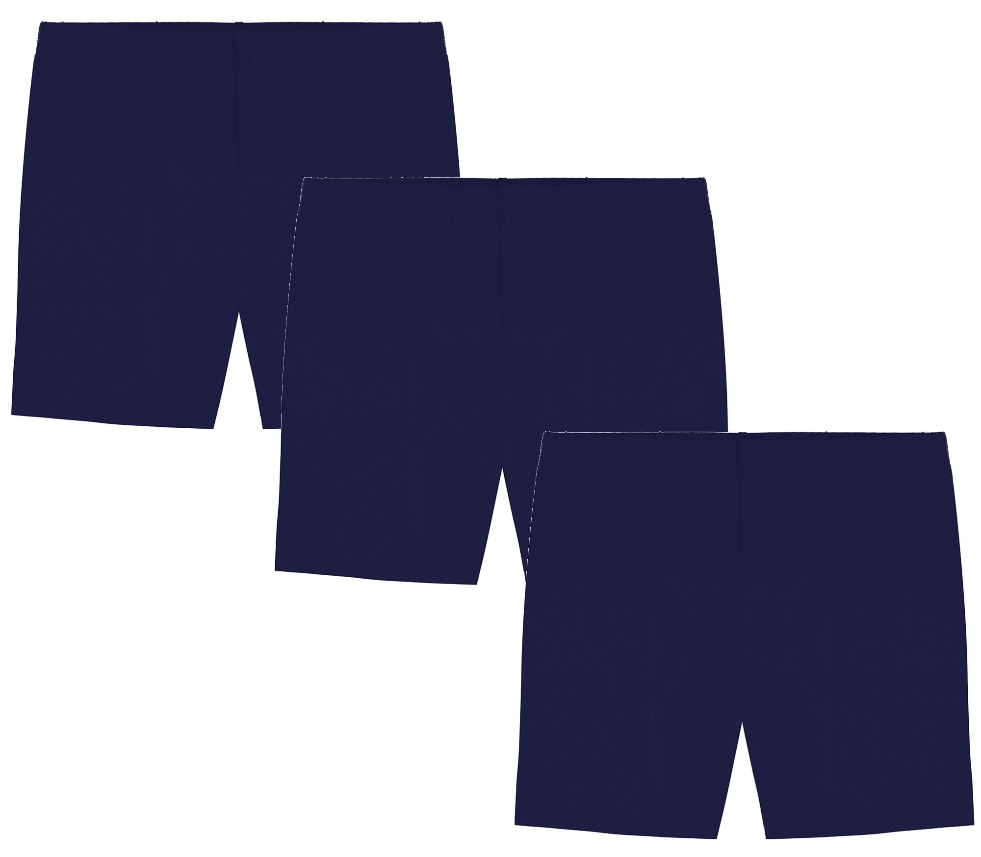 My Way Girls' Value Pack Solid Cotton Bike Shorts - All Navy - 4