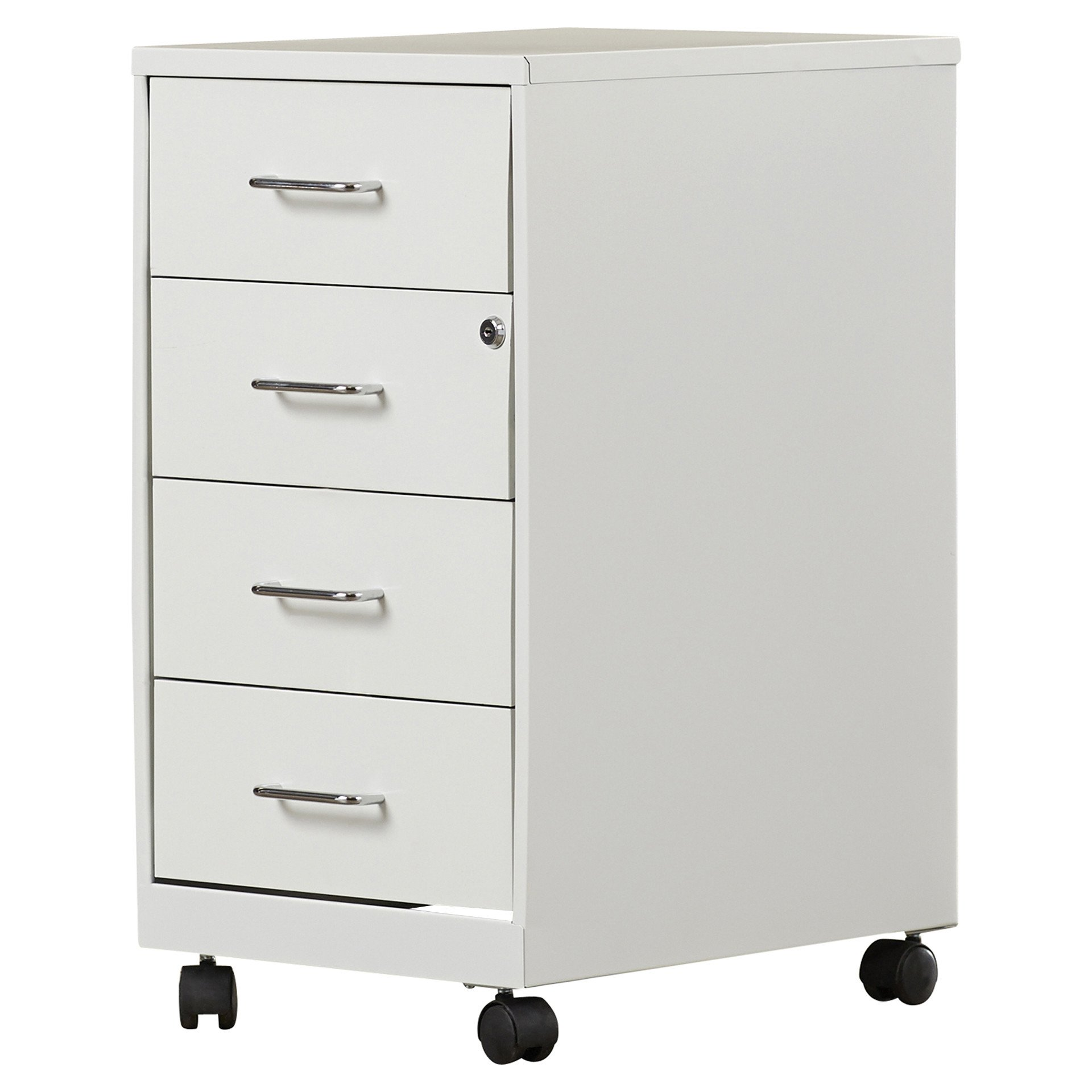 4 Drawer Mobile File Cabinet Made w/ Metal in Pearl White and Chrome Finish 26.5'' H x 14.25'' W x 18'' D in.