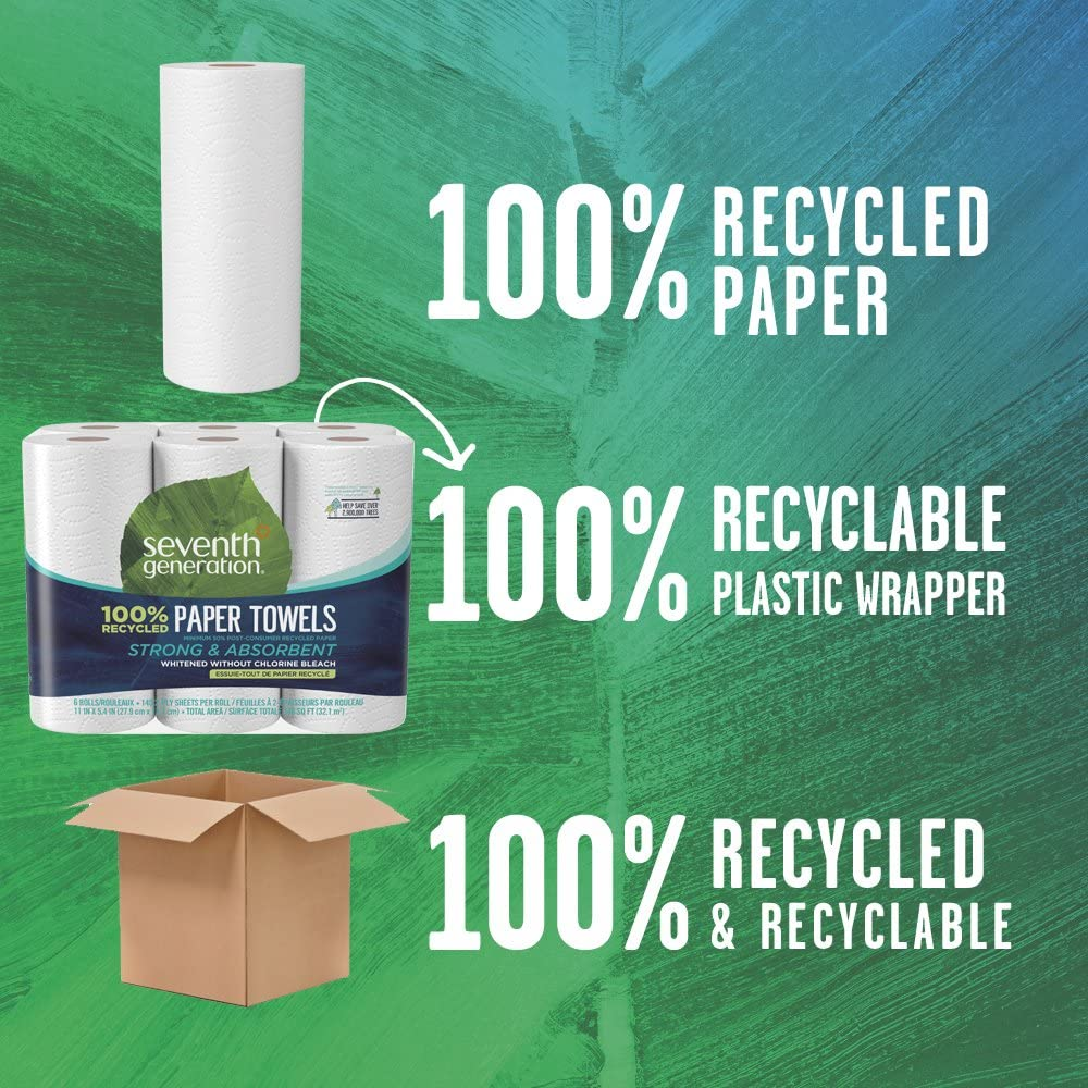 Seventh Generation Paper Towels, 100% Recycled Paper, 2-ply, 6 Roll, 2 Pack (12 Rolls): Health & Personal Care