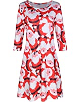 Styleword Women's Three-Quarter Sleeve Casual Christmas Dress With Pocket