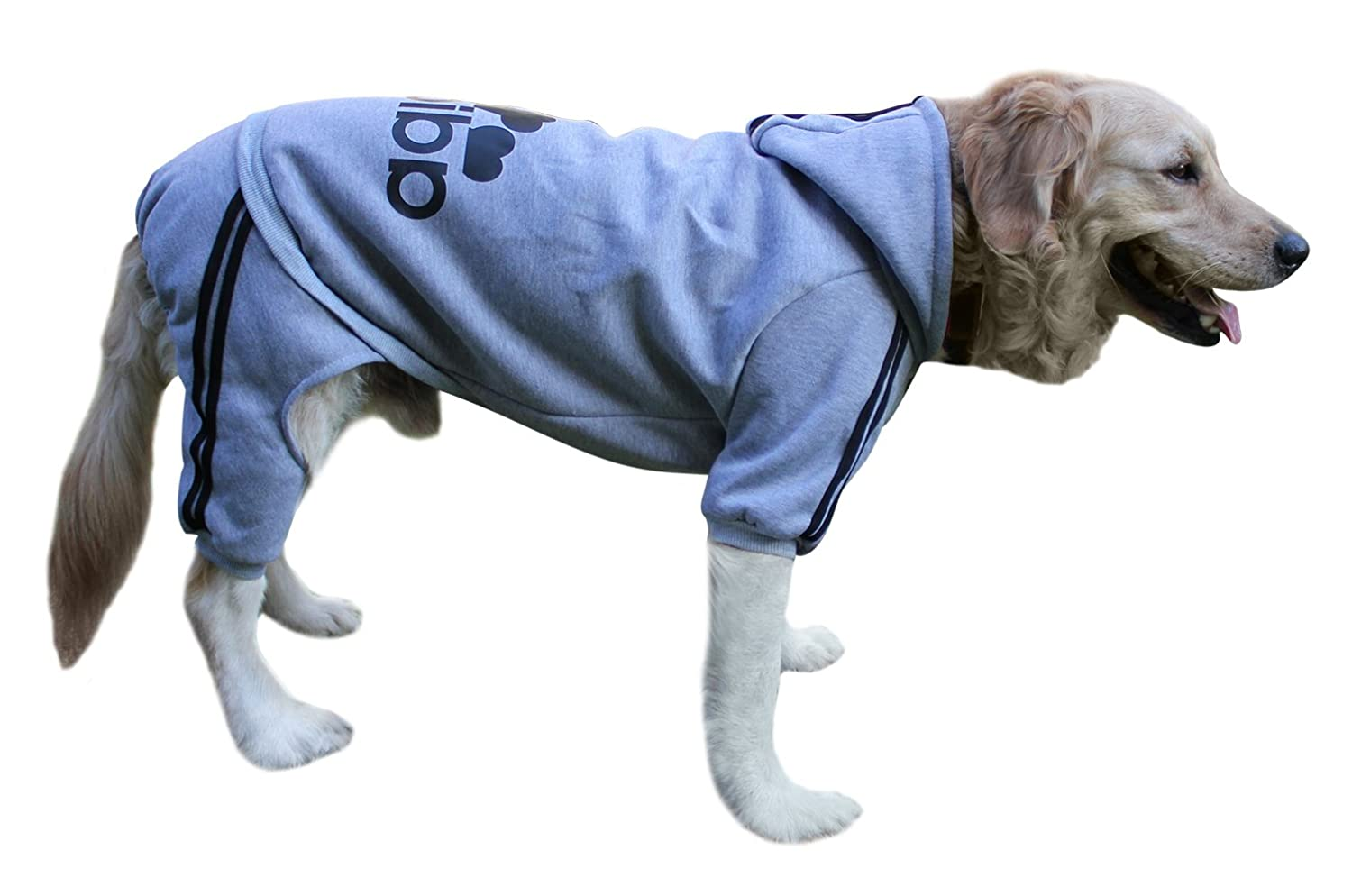 Grey 5XL Grey 5XL EastCities Winter Hoodie for Large Dog Warm Coat Sweater Four Legs Pet Clothes,Grey 5XL