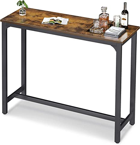 Odk 47 Bar Table Bar Height Pub Table Rectangular High Top Kitchen Dining Tables With Sturdy Legs Easy To Clean Top 10 Min Quick Assembly Rustic Brown Kitchen Dining
