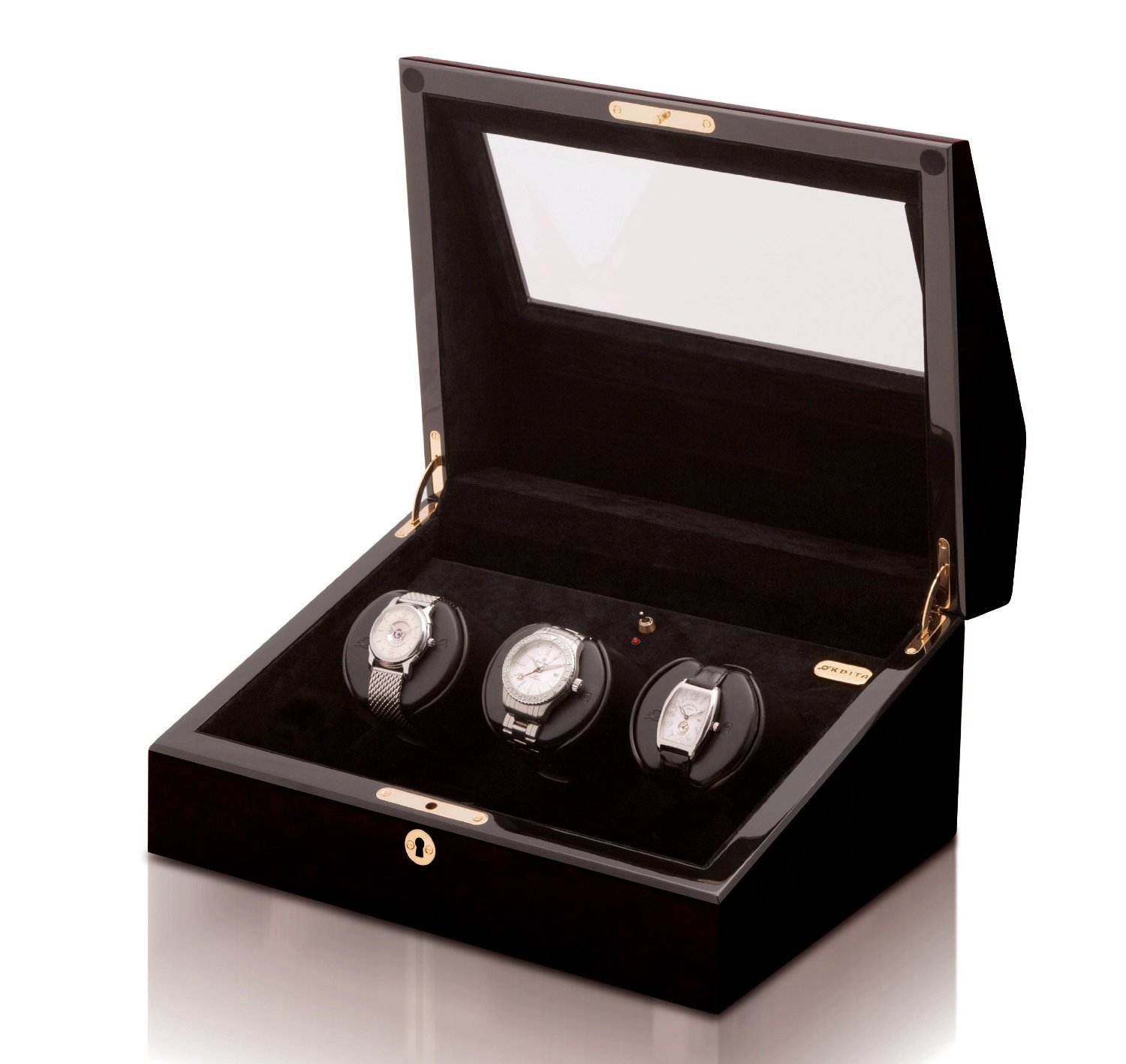 Siena 3 Programmable Watch Winder in Exotic Black Lacquer by Orbita