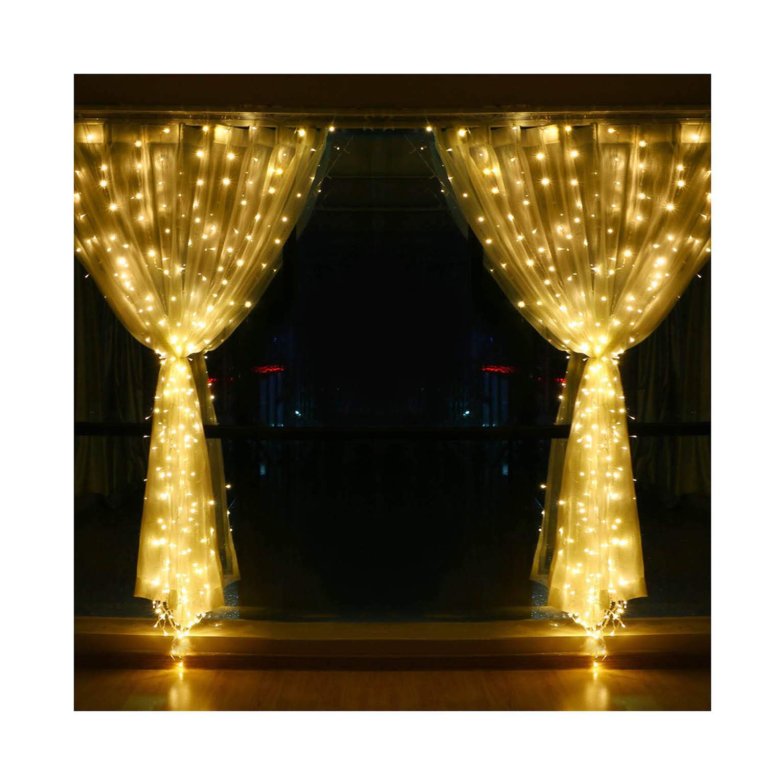 Window Curtain String Lights , 9.8 X 9.8ft Fairy Lights, 304 LED Waterproof Wall Decorations for Wedding Party Home Garden Bedroom Outdoor Indoor (Warm White)
