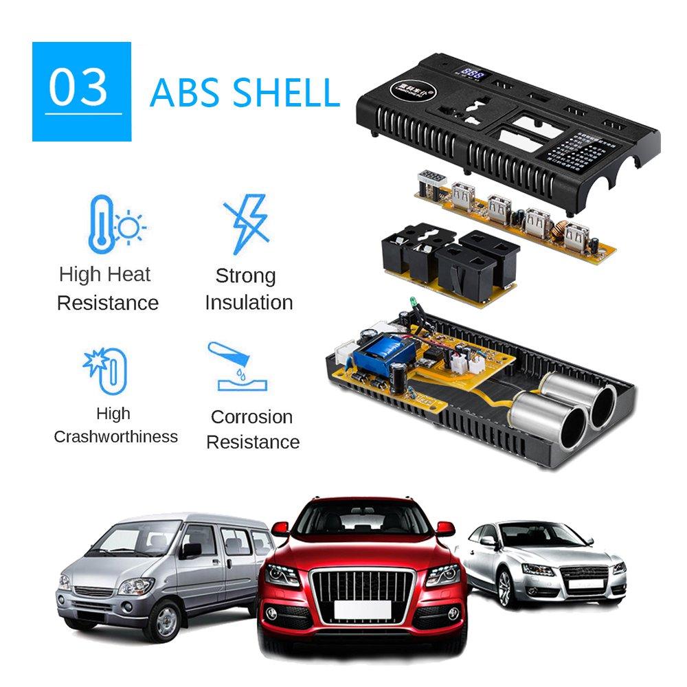 Car Power Inverter Outlet Adapter Dc 12v 24v To Ac Making Technology For 110v 220v Charger With Dual Cigarette Lighter Display Screen 4 Usb Ports