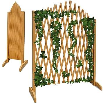 Treillage jardin brun 180x107cm support plantes grimpantes brise-vue  pliable Clôture de jardin treillis extensible Bois Pare-vue