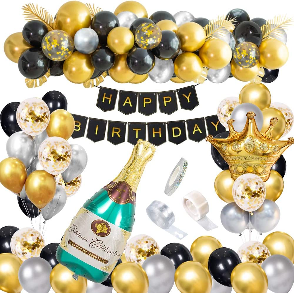 Black and Gold Party Decorations Happy Birthday Confetti Balloons with Banner, Giant Champagne Foil Balloons,Crown Balloons for18th 20th 30th 40th 50th 60th 70th Birthday Decorations