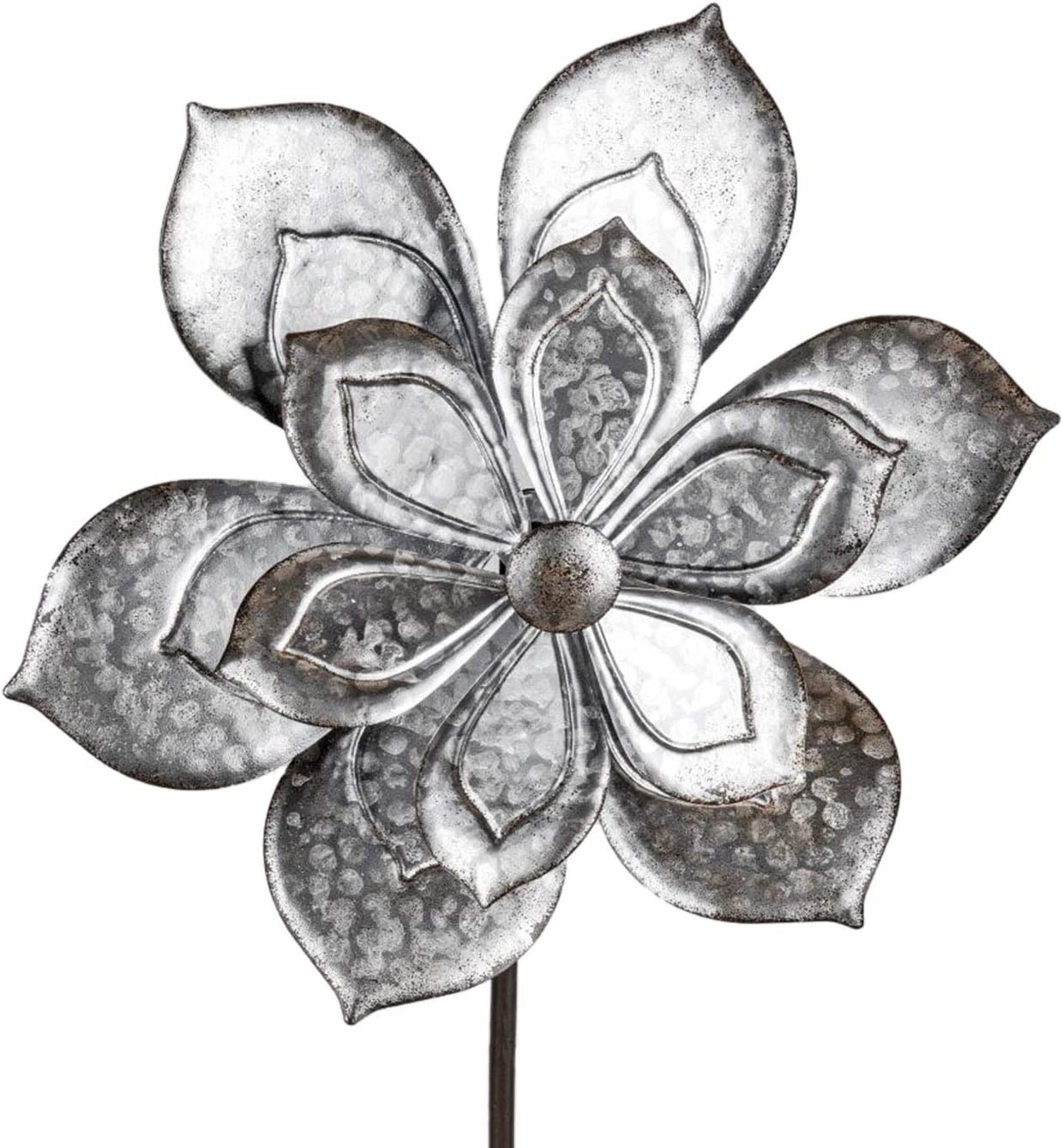 dekojohnson – Molinillo de Viento para el jardín de Metal – Molino de Viento Doble Antiguo Plata – 38/120 cm Grande: Amazon.es: Jardín