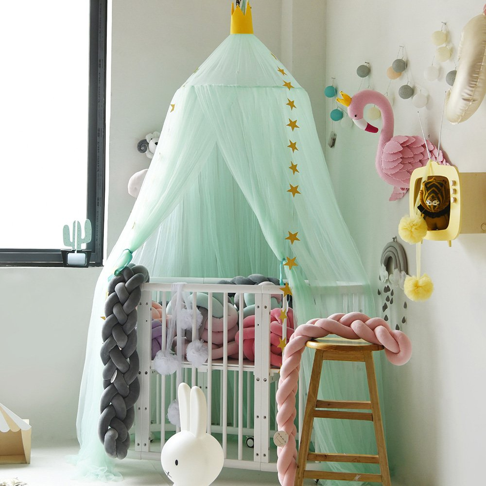 Didihou Mosquito Net Bed Canopy Yarn with 1 Free Star Garland Play Tent Bedding for Kids Reading Dome Netting Curtains Boys Girls Games House (Light Green)