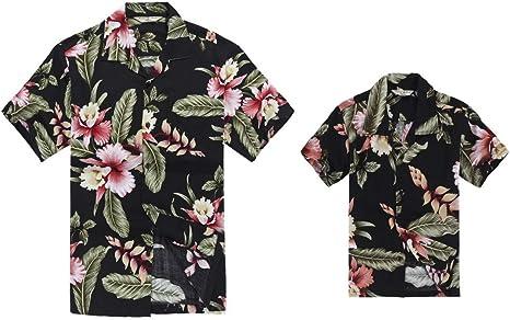 Juego Hawaiano Traje de Luau Camisa de Hombre Camisa de niño en Palma Verde: Amazon.es: Ropa y accesorios
