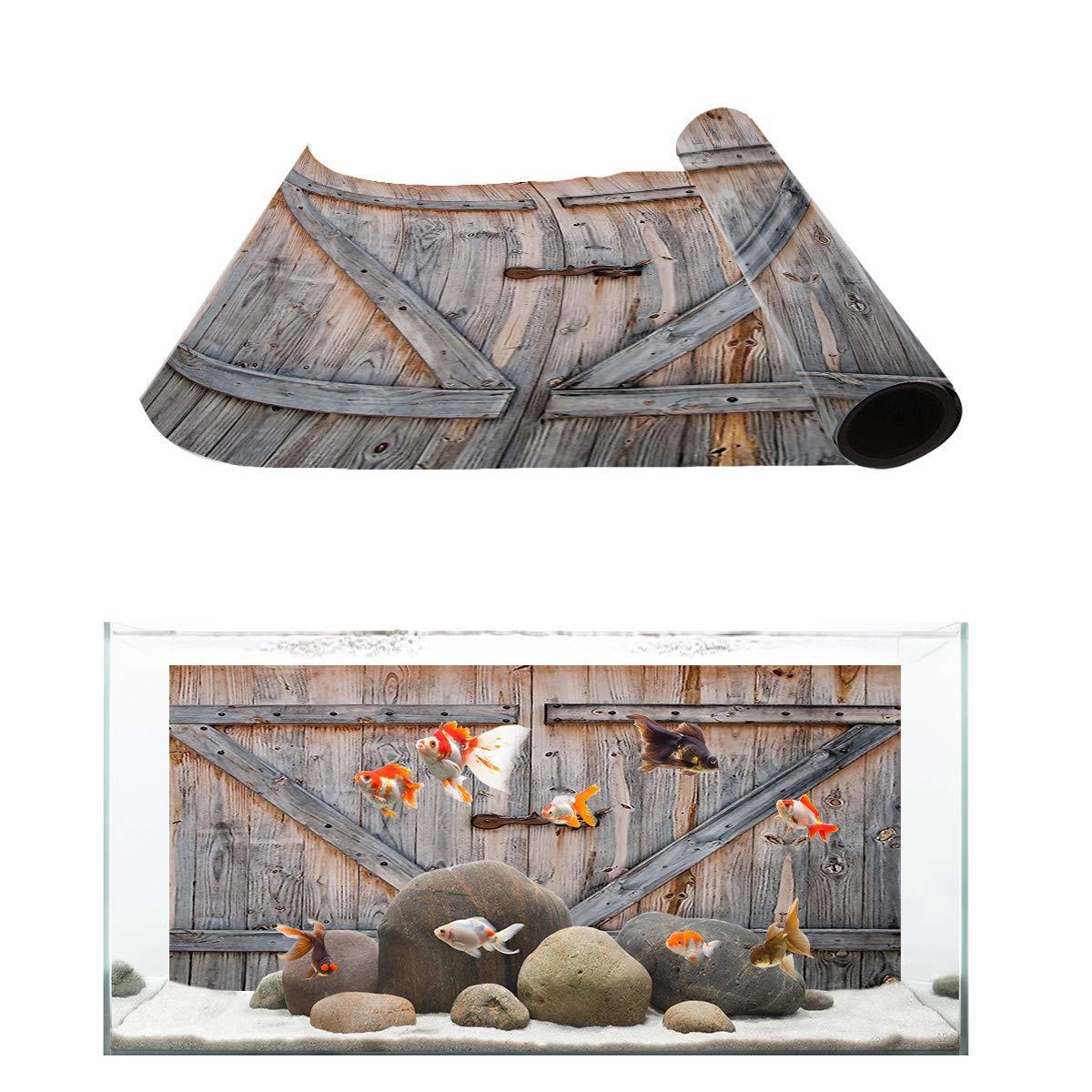 T&H Home Aquarium Décor Backgrounds - Vintage Wood Grain Pattern Fish Tank Background Aquarium Sticker Wallpaper Decoration Picture PVC Adhesive Poster, 24.4'' W x 12.4'' H by T&H Home