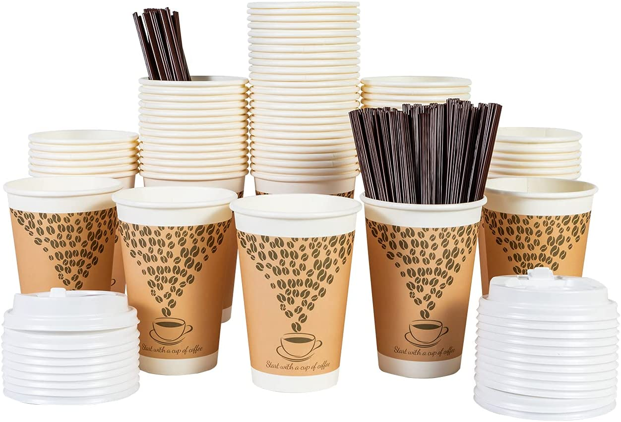100 Pack Disposable Coffee Cups with Lid Staw 12 oz Insulated Paper Hot Beverage Drink for Party Home Restaurant Picnic Travel