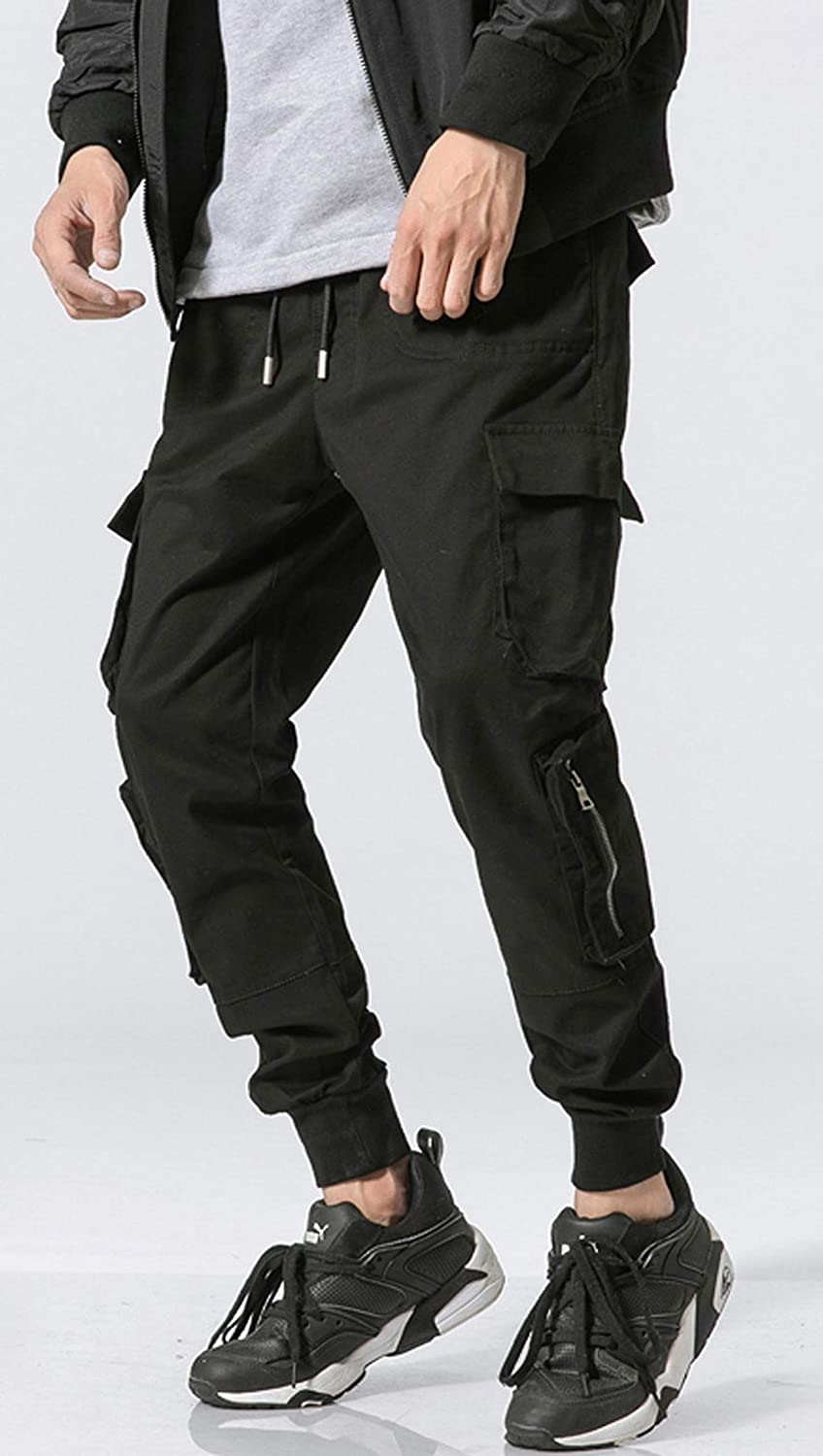 cad96ca50743 MOKEWEN Men's Multi Cargo Zipper Pocket Tactics Jogger Harem Pants with  Elastic Waist W32-33 at Amazon Men's Clothing store:
