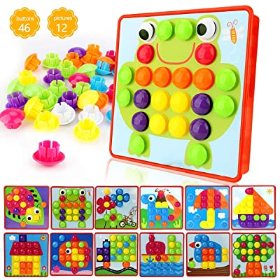 Winkeyes Button Art Toy Mosaic Pegboard Puzzles Kids Toy DIY Educational Learning Toy with 46 Mushroom Nails 12 Colourful Pictures Jigsaw Puzzles Gifts for Boys Girls Toddlers: Toys & Games