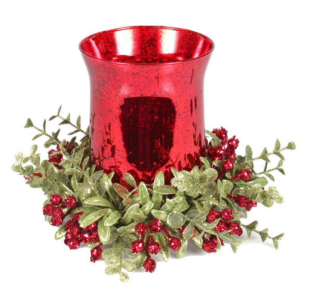 7 inch Mistletoe Floral Red Tea Light Candle Holder Set