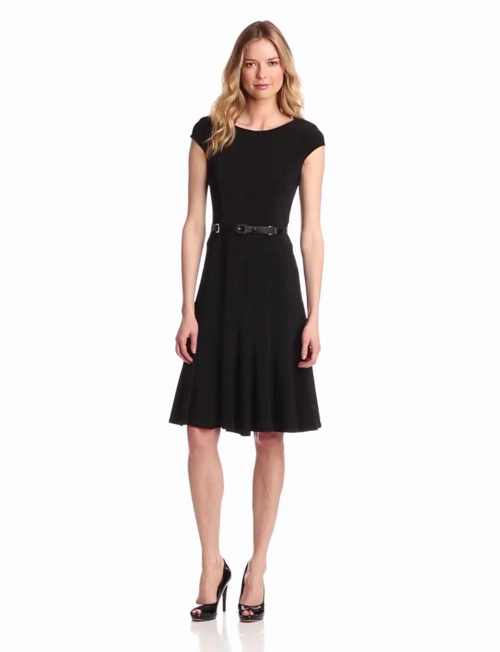 Anne Klein Womens Cap Sleeve Solid Dress, Black, 2