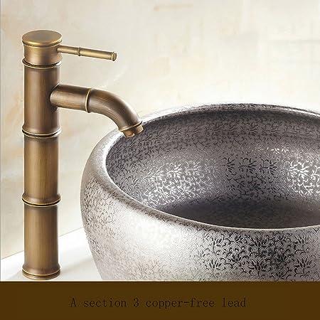 Enolla Antike Alle Kupfer Waschbecken Wasserhahn Wasserfall Bambus