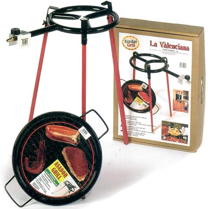 VAELLO La Valenciana – Paellera ecoset con 1 Quemador 300 mm, sartén Parrilla Cuadrada Patas 36 cm, Acero, Plata/Negro, 30 x 30 x 30 cm