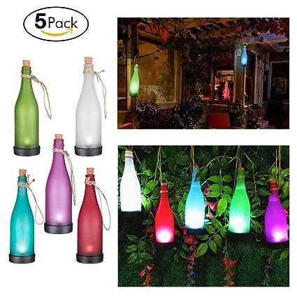 YINGMAN juego de 5 LED funciona con energía Solar luz lámpara de botella de cristal para