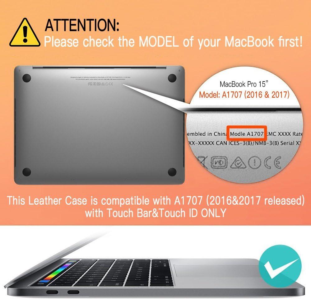 A1707//A1990 2016/&2017/&2018 Negro Funda MacBook Pro 15 Icarer Cuero Genuino Utra Delgado Ligero Protector Suave Cubierta de la Caja Shell para Macbook Pro 15 pulgadas con Retina Display Model