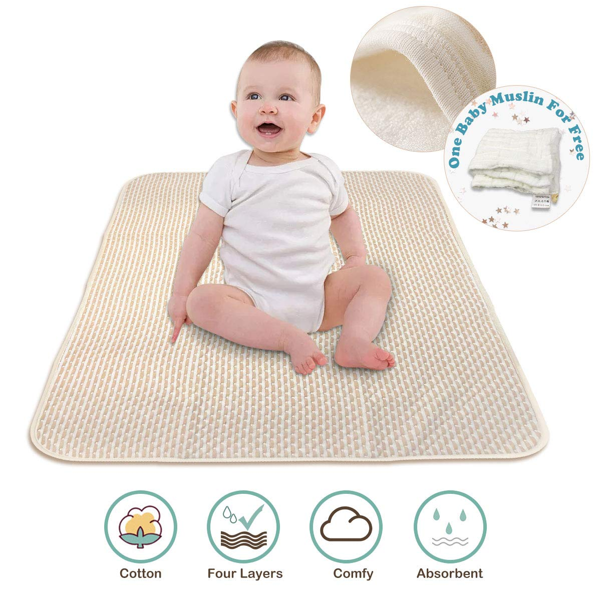 Waterproof Bed Pad - Baby Waterproof Sheet, Incontinence Mattress Protector for Children Adults, Soft Breathable Organic Colored Cotton Pets Pad - 1PCS (Stripe Beige) Kordear