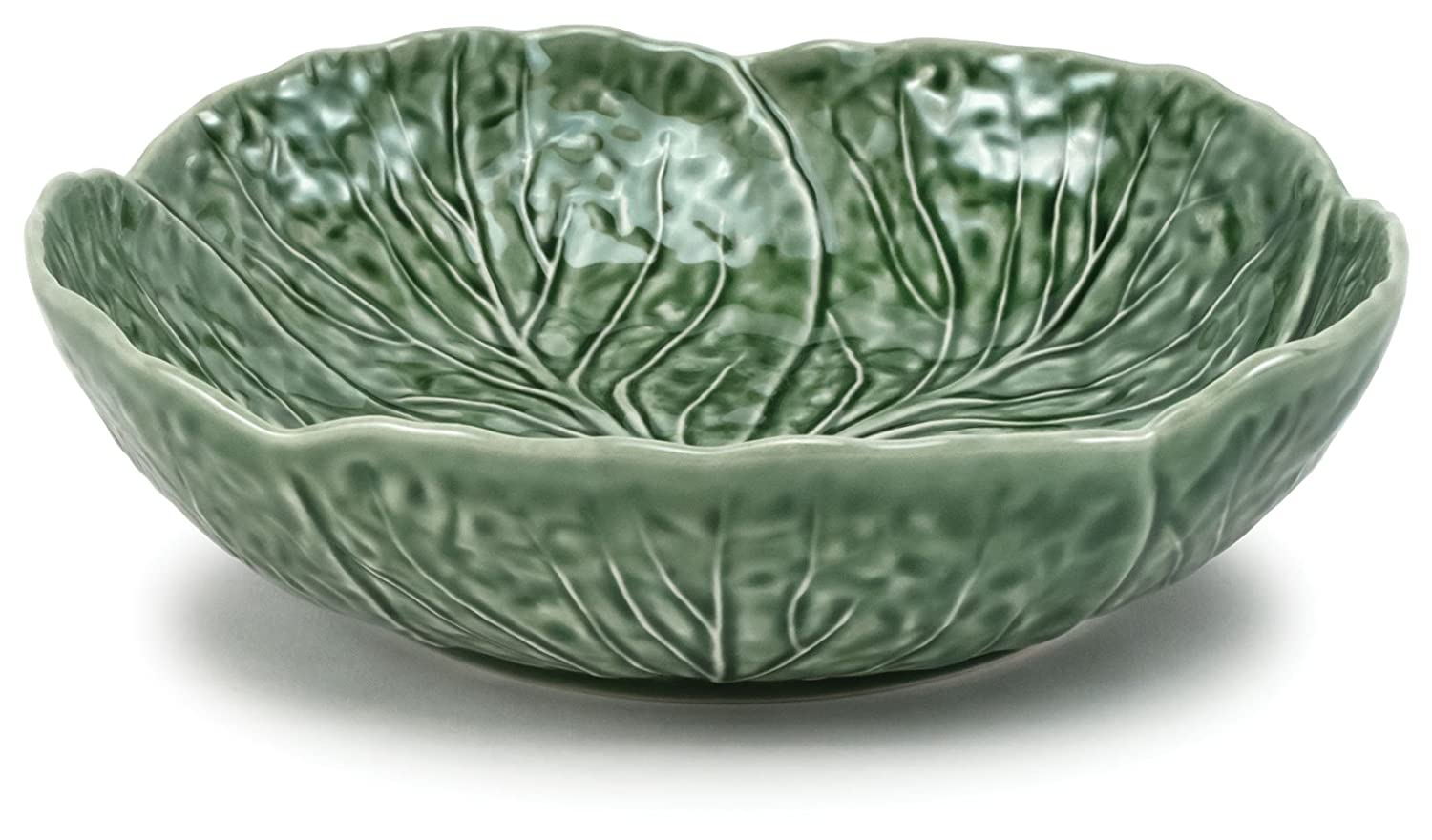 Christmas Tablescape Décor - Majolica Green Cabbage Leaf Pottery Medium Size Salad or Serving Bowl by Traders and Company