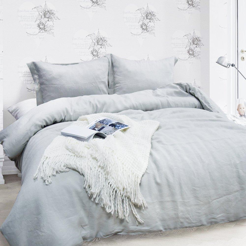 Merryfeel 100% Linen Duvet Cover Set - Full/Queen Grey