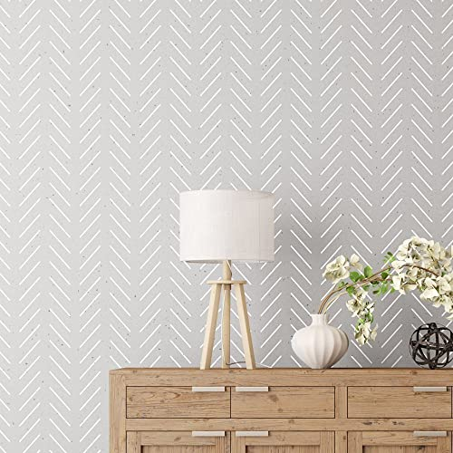 Herringbone Simple Wall Stencil For Painting   Expedited 3 Days Delivery    Geometric Wall Accent