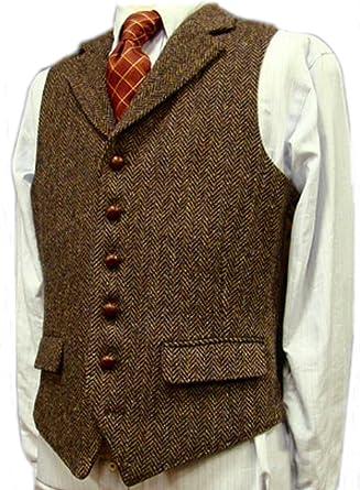 Brightmenyouth Brown Wool Herringbone Groom Vests Formal Groom s Wear Suit  Vest Men s Wedding Tuxedo Waistcoat Plus 8463039c8380