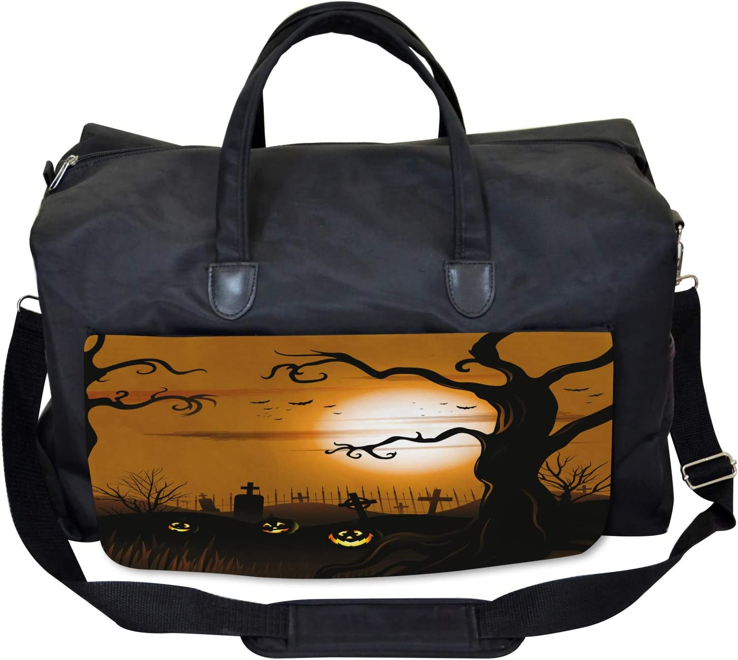 Large Weekender Carry-on Scary Cemetery Ambesonne Halloween Gym Bag