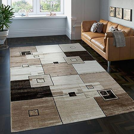 Paco Home Tapis Design Raffiné Carrelé Mèches Courtes Moucheté en Marron  Beige Crème, Dimension:160x230 cm
