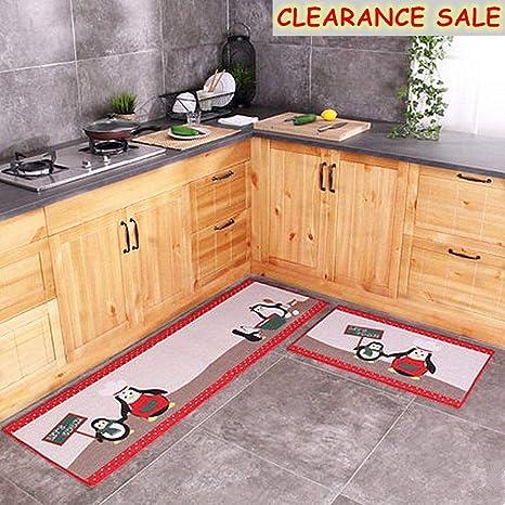 Ustide Newly 2 Piece Kitchen Rugs Set Floor Rug Washable Floor Runner Penguin
