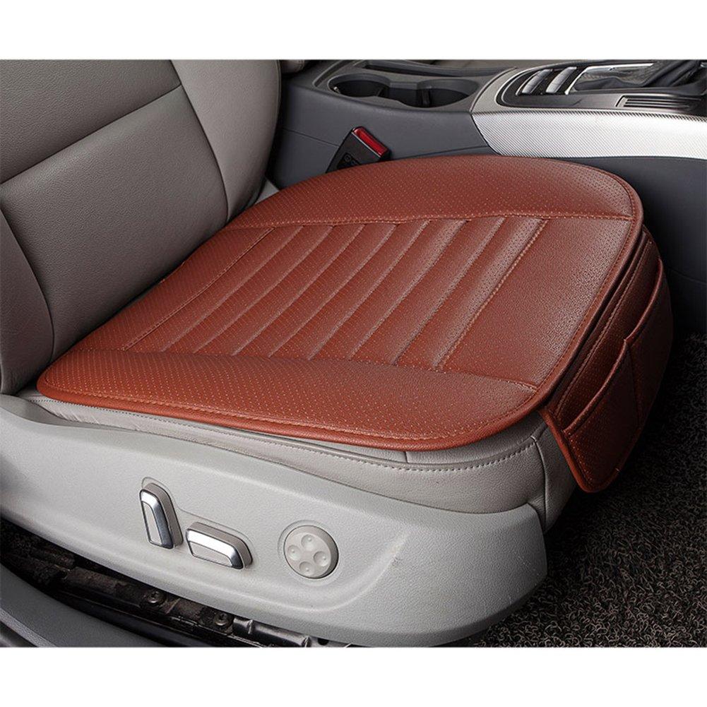 Demiawaking Car Seat Cushion Leather Bamboo Charcoal Breathable Individual Car Seat Pad Cushion Massage Seat Cover Mat Black