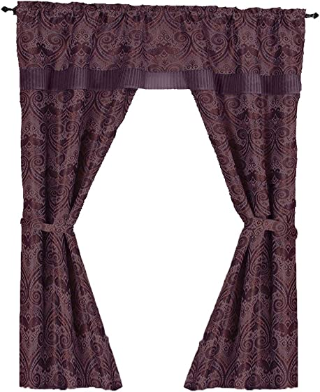 Peach Couture Window Treatment Room Darkening Curtains Blackout Curtains Window Panel Drapes Window Set with Attached Valance Burgundy, 55 x 63