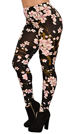 fd6f9400af Image Unavailable. Image not available for. Color: BadAssLeggings Women's  Cherry Blossom Leggings ...