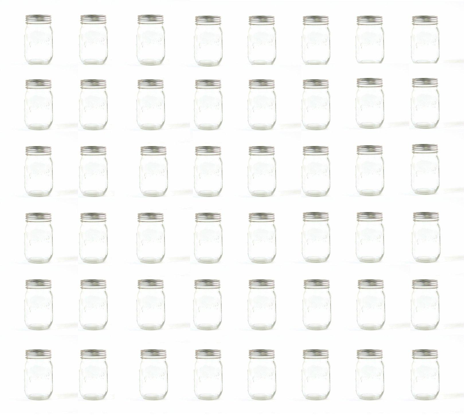 Koyal Wholesale BULK 48-Pack Vintage Drinking Mason Jar 16 oz for Wellness Infusing Water, Smoothies, Salad Container, Yogurt, Everyday Decoration, Storage, Less than $2 per Jar