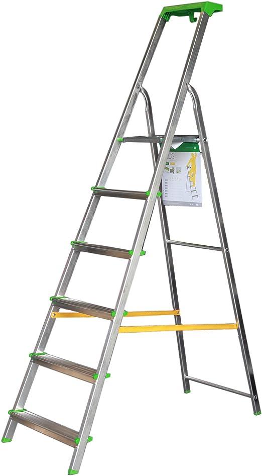 Escalera Tijera c/Bandeja Superior Multifuncional (6 Peldaños): Amazon.es: Bricolaje y herramientas