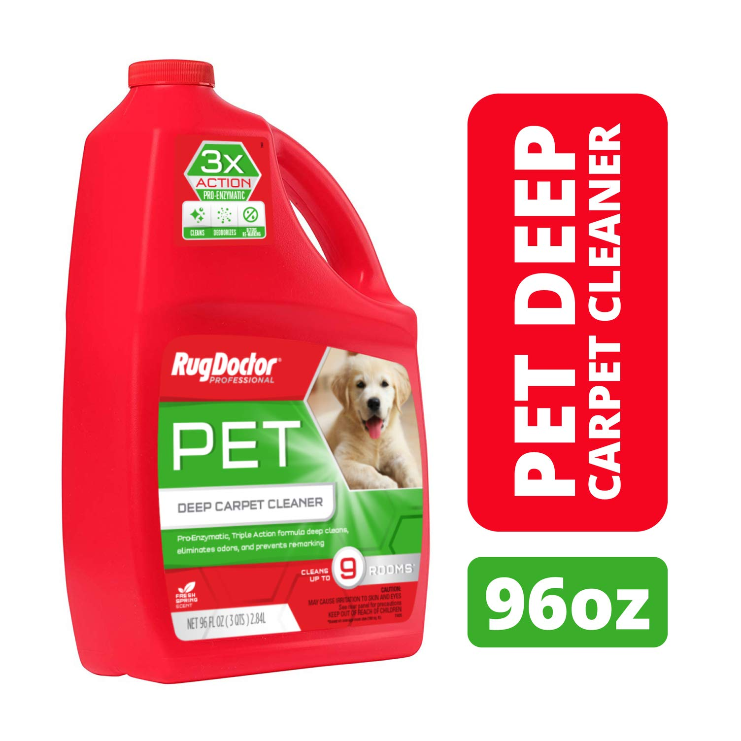 Rug Doctor Triple Action Pet Deep Carpet Cleaner; Permanently Removes Tough Pet Stains and Odors, Professional-Grade, Protects Soft Surfaces from Pet Accidents, Cleans 9 Rooms, CRI-Certified, 96 Oz. by Rug Doctor