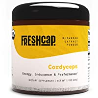 Organic Cordyceps Mushroom Extract Powder - Organic Cordyceps Militaris - Supplement - Energy and Endurance -Real Fruiting Body No Fillers (60 Gram)