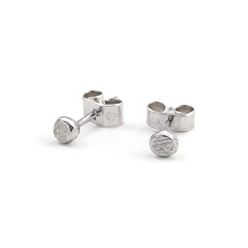a809521c2 Sterling Silver Tiny Round Stud Earrings Textured 100% Recycled: Amazon.co. uk: Handmade