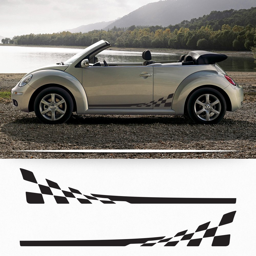 Volkswagen New Beetle 1998-2011 checkered flag side graphics decal Porsche style My Cars Look